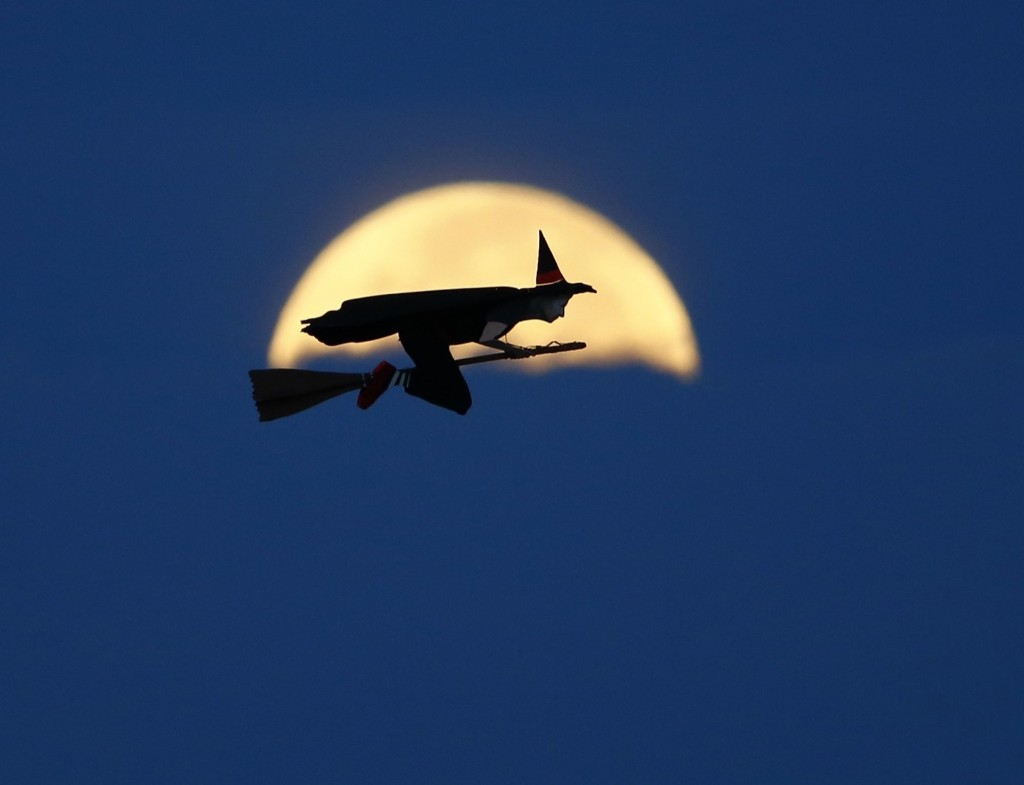A radio-controlled flying witch makes a test flight over Carlsbad, Calif. Oct. 8. REUTERS/Mike Blake