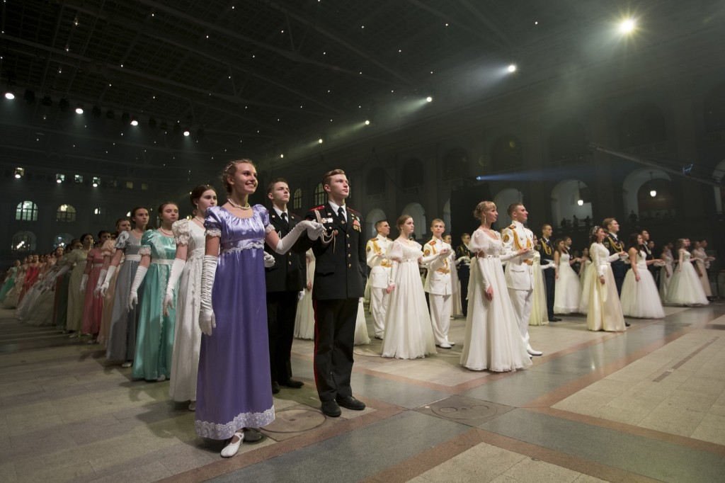 Military school students wait to dance. AP Photo/Alexander Zemlianichenko