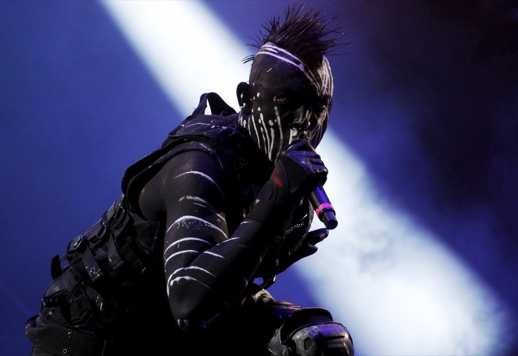 "Zero of the industrial metal band ""Koyi K Utho"" performs during the ""Rock al Parque"" music festival in Bogota. REUTERS/John Vizcaino"