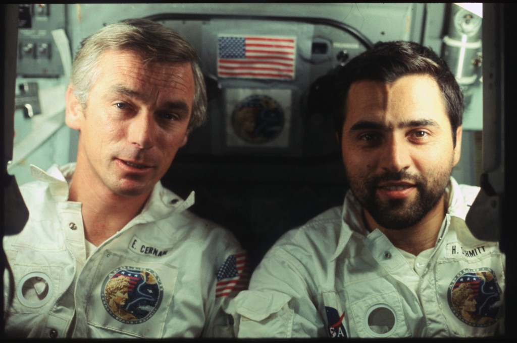 Apollo 17 crew, Commander Eugene Cernan and Lunar Module Pilot Harrison Schmitt. NASA Photo