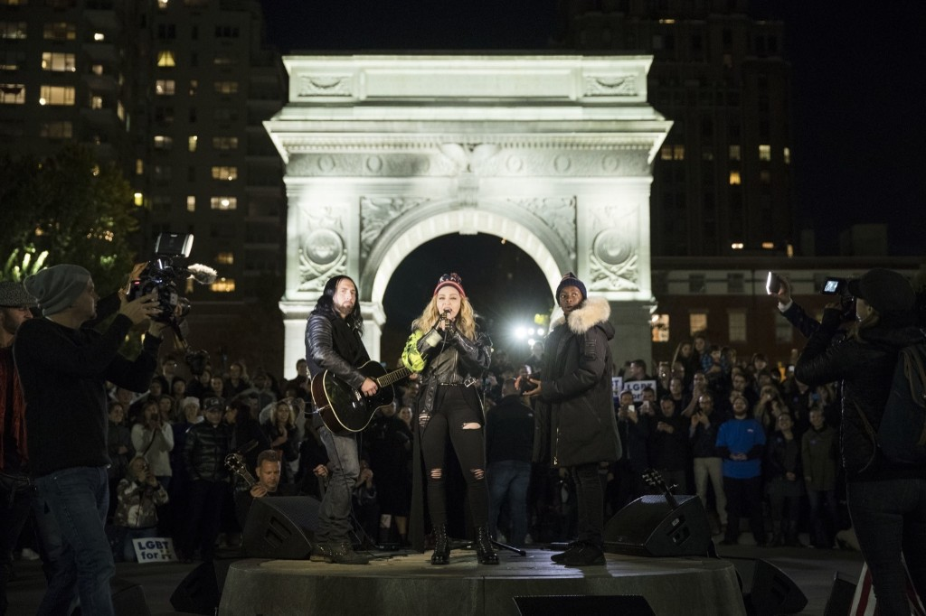 Madonna campaigns for Hillary Clinton during a surprise performance at Washington Square Park in New York. AP Photo/Matt Rourke