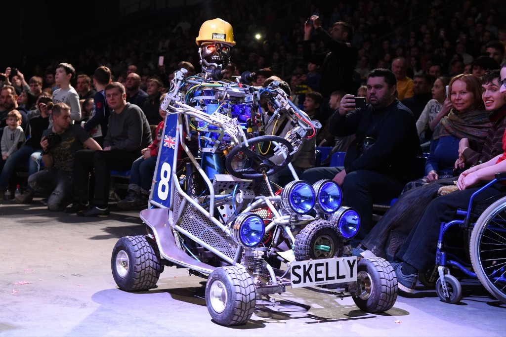 Skelly during the robot combat contest at the Bronebot show in Moscow. VASILY MAXIMOV/AFP/Getty Images