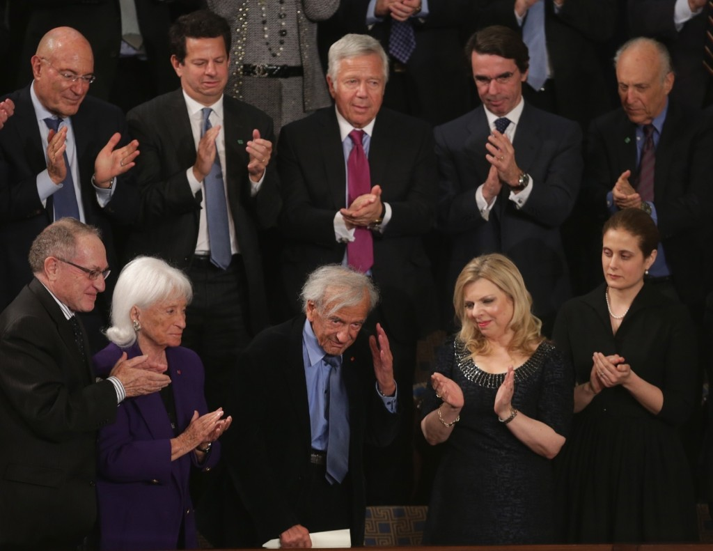Elie Wiesel is acknowledged as he stands with Sara Netanyahu while Israeli Prime Minister Benjamin Netanyahu delivered a speech to a joint meeting of the U.S. Congress, Tuesday, in Washington. Chip Somodevilla/Getty Images