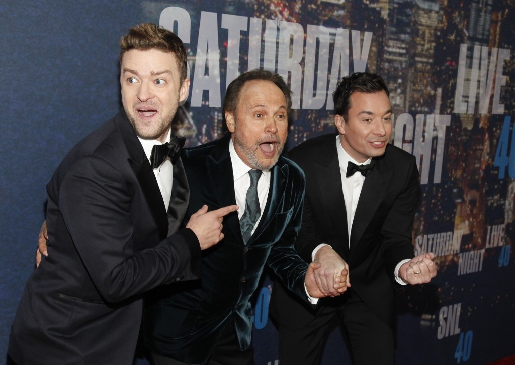 Justin Timberlake, Billy Crystal and Jimmy Fallon attend the SNL 40th Anniversary Special, Sunday, in New York. Andy Kropa/Invision/AP