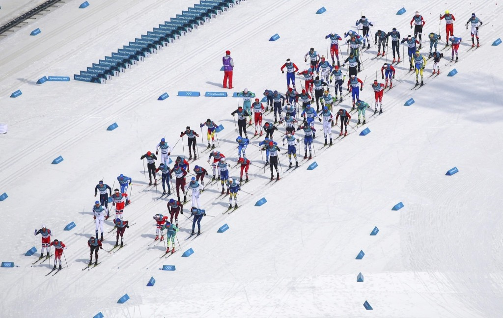 The start of the men's 50km classic cross country race. REUTERS/Carlos Barria