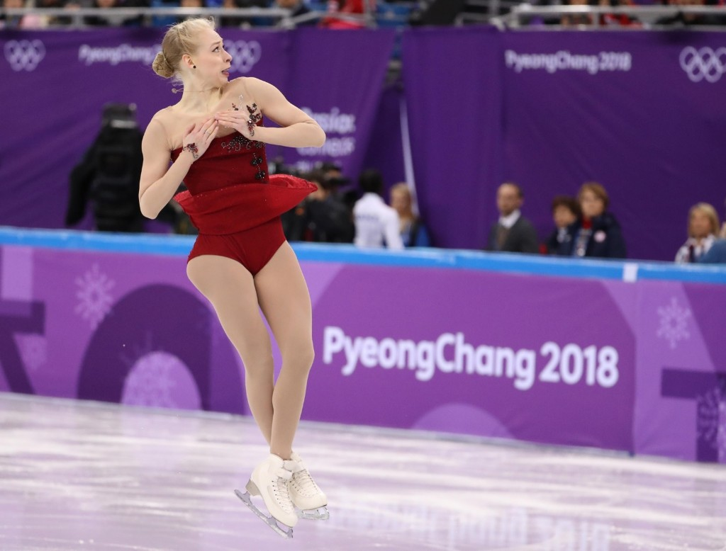 Bradie Tennell of the U.S. during the team event women's short program. REUTERS/Lucy Nicholson