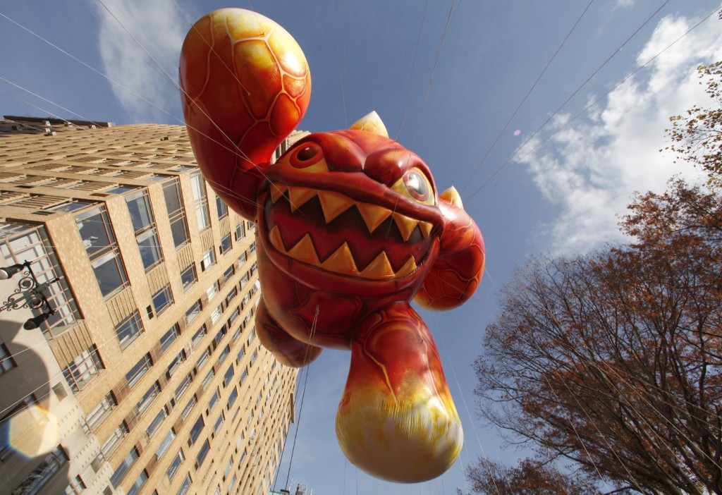 The Skylanders Eruptor balloon floats down Central Park West in the Macy's Thanksgiving Day Parade in New York, Thursday. Photo by Gary Hershorn