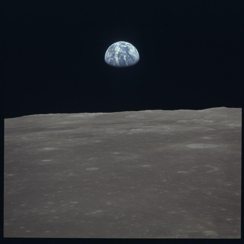 Earthrise over the moon from Apollo 11. NASA Photo