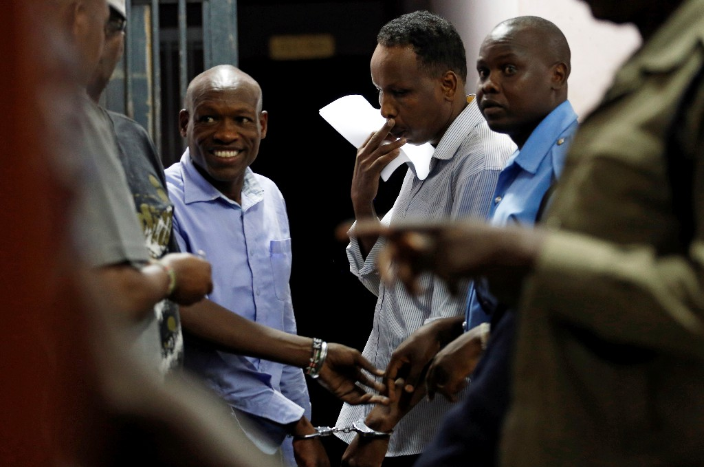Joel Nganga and Guled Abdihakim are seen at the Mililani Law Courts where they appeared as suspects in connection with the attack at the DusitD2 complex, in Nairobi, Kenya January 18, 2019. REUTERS/Thomas Mukoya