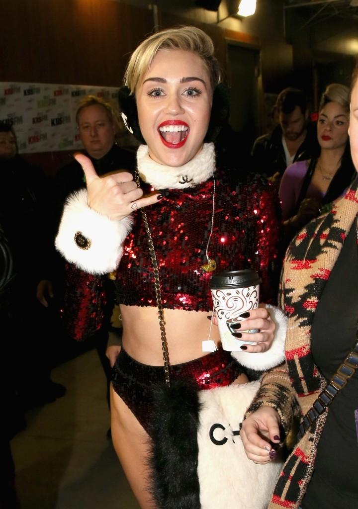 Miley Cyrus attends KIIS FM's Jingle Ball 2013 at the Staples Center Friday in Los Angeles. Christopher Polk/Getty Images for Clear Channel