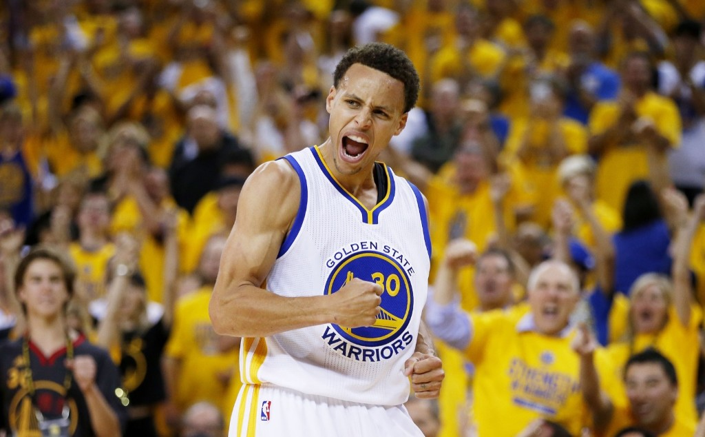 Warriors Steph Curry after hitting a basket in the second quarter against the Cavaliers during Game 5 of the 2015 NBA Finals. Ezra Shaw/Getty Images
