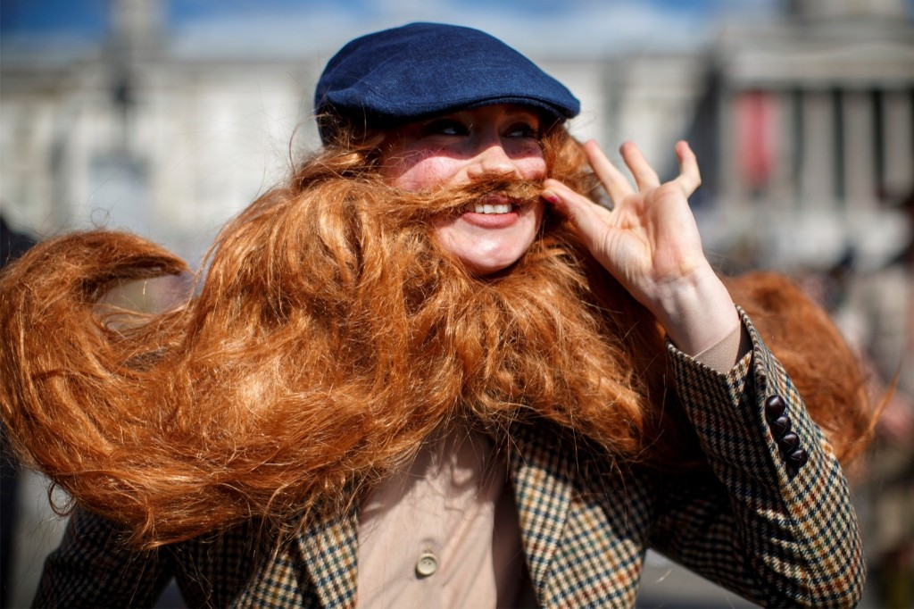A participant in The Tweed Run in London's Trafalgar Square. Tolga Akmen/Anadolu Agency/Getty Images