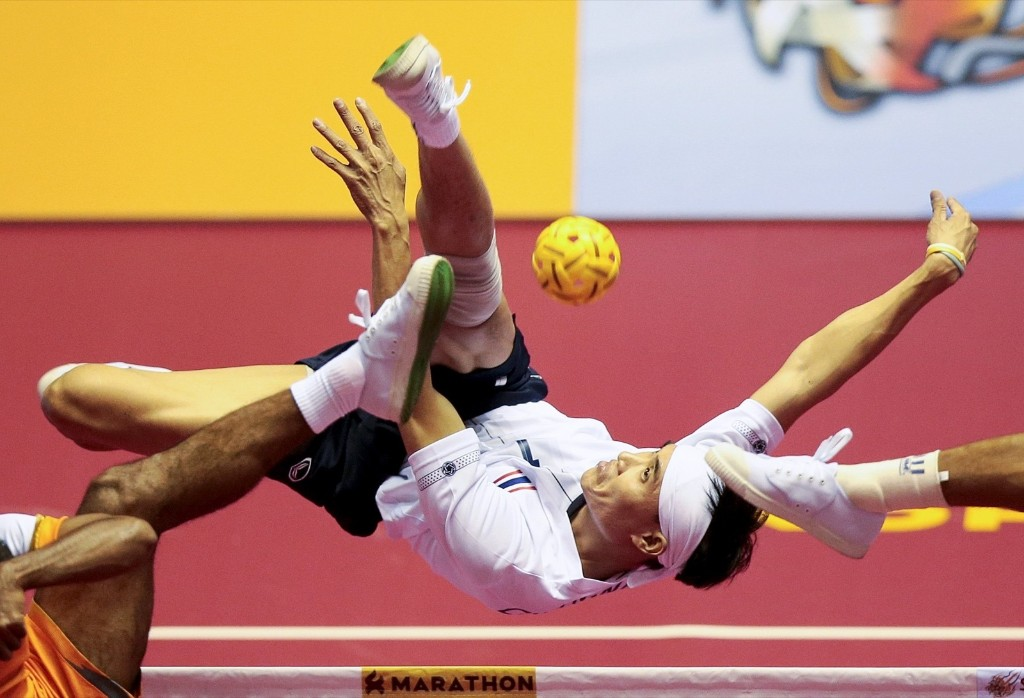 Action from the ISTAF Super Series Sepak Takraw competition in Gunsan City, South Korea. Jeremy Lee/Action Images/Reuters