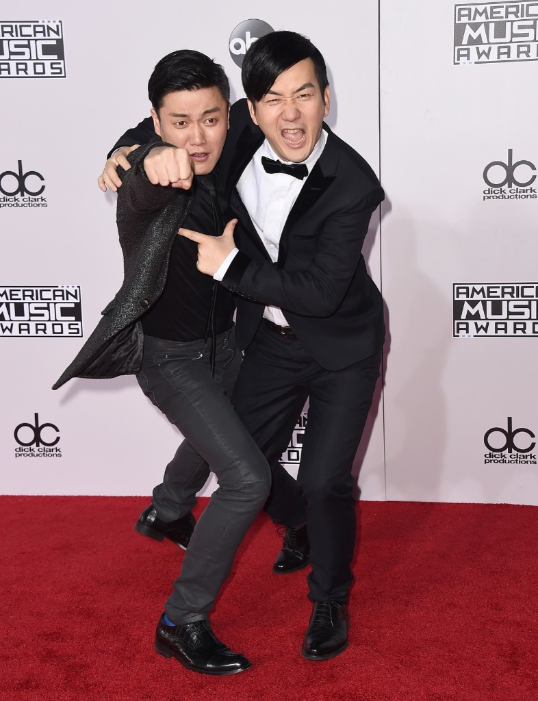 Xiao Yang and Wang Taili of Chopstick Brothers. Jordan Strauss/Invision/AP