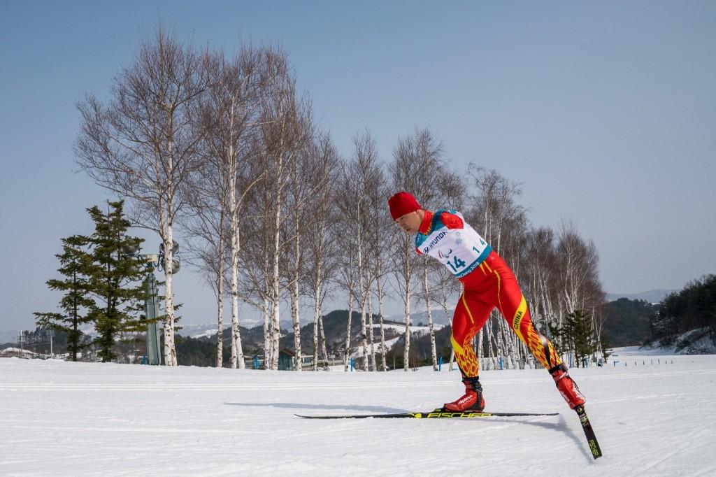 Haitao Du of China in the Standing Men's 20km Free Cross-Country Skiing. Bob Martin for OIS/IOC