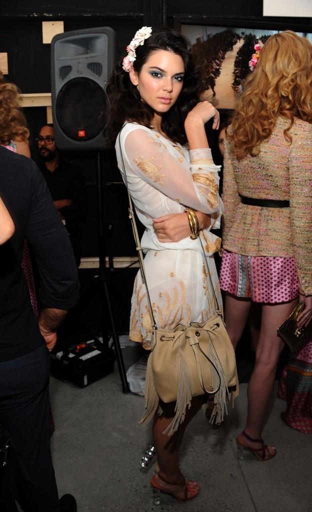 Kendall Jenner poses backstage. Desiree Navarro/WireImage
