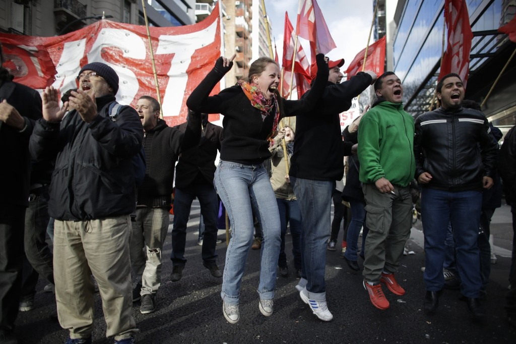 Protesters block an avenue during a strike in Buenos Aires. AP Photo/Victor R. Caivano