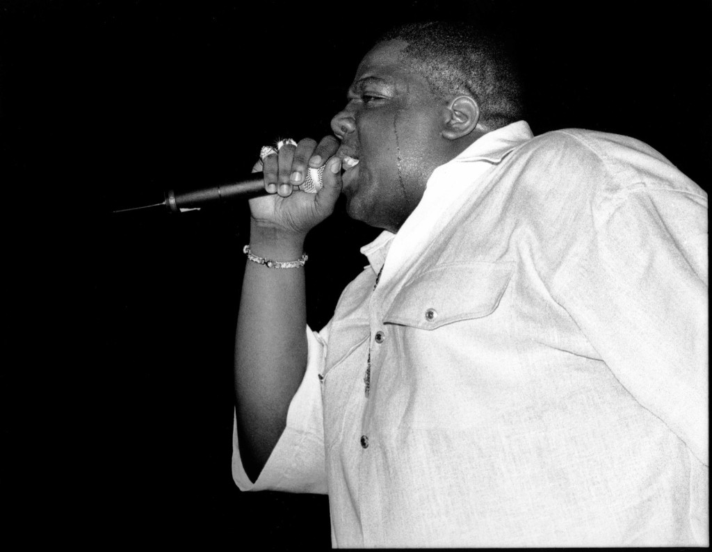 Notorious B.I.G. performing at the Meadowlands in New Jersey, June 29, 1995. David Corio/Redferns