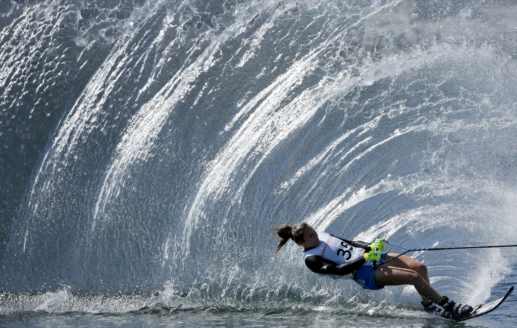 Regina Jaquess of the US during the slalom portion of the womens overall water ski competition at the Pan Am Games in Toronto. AP Photo/Gregory Bull