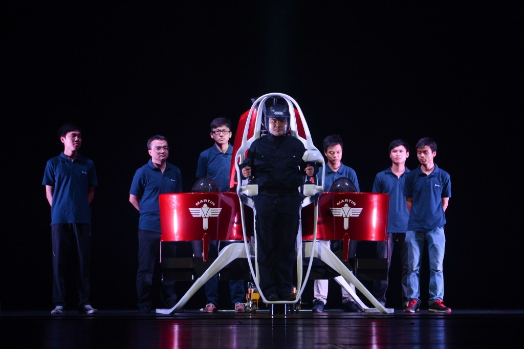 Liu Ruopeng, Director of Shenzhen Kuang-Chi Research Institute, with the Martin Jetpack during an innovator conference at Shenzhen Poly Theatre. ChinaFotoPress via Getty Images