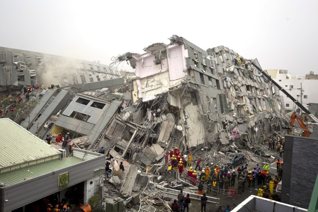 Rescue personnel search for survivors at the site of a collapsed building in Tainan, Taiwan. Ashley Pon/Getty Images