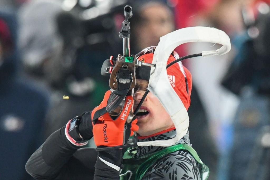 Germany's Benedikt Doll at the shooting range in the men's 4x7.5km biathlon. ODD ANDERSEN/AFP/Getty Images