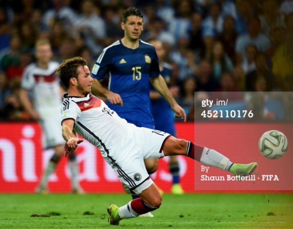 Mario Goetze of Germany scores his team's lone goal. Shaun Botterill/FIFA/Getty Images