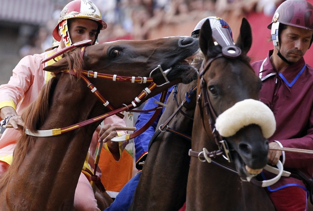 Riders compete during the ancient Palio of Siena, the famous break-neck bareback horse race run, in Siena, Italy, August 17. AP Photo/Paolo Lazzeroni