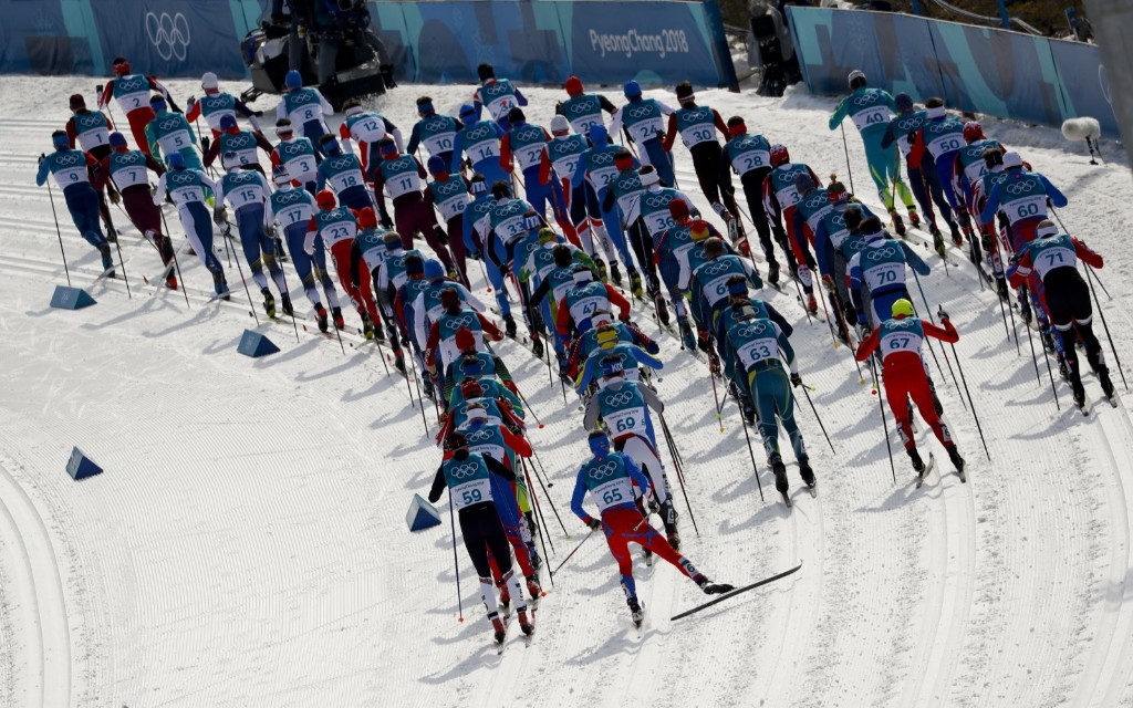 The start of the men's 50k mass start cross country skiing race in Pyeongchang. AP Photo/Matthias Schrader
