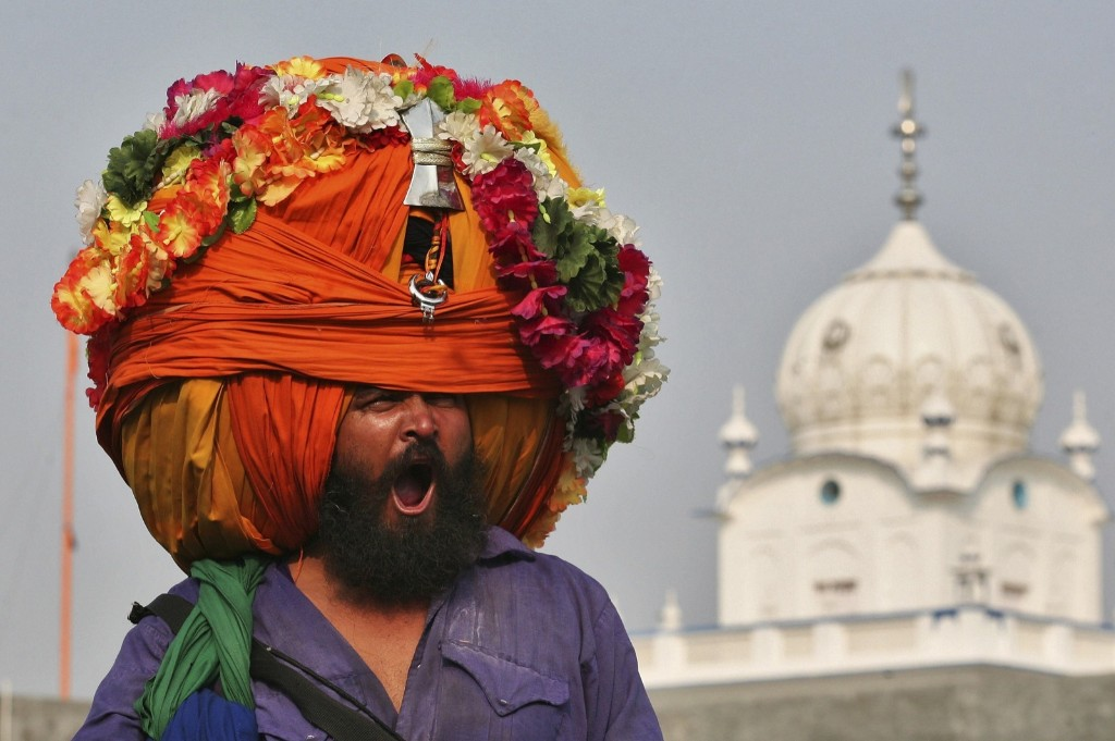 A Sikh warrior during a religious procession to mark the Bandi Chhorh Divas in Amritsar. REUTERS/Munish Sharma