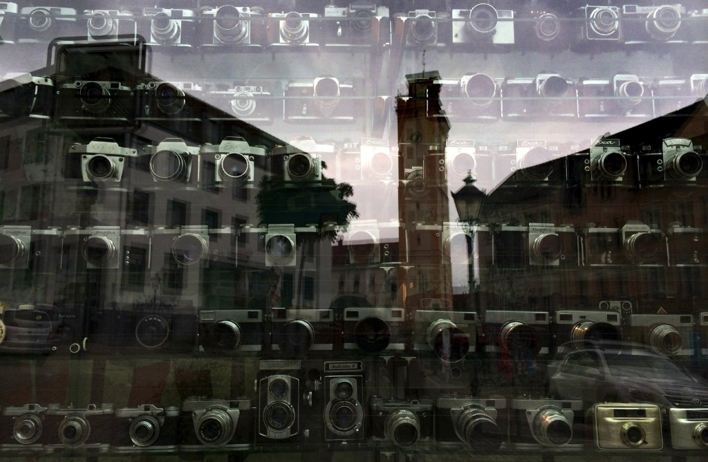 Vintage cameras on display in the shop window of a photo studio in Altenburg, Germany. REUTERS/Kai Pfaffenbach