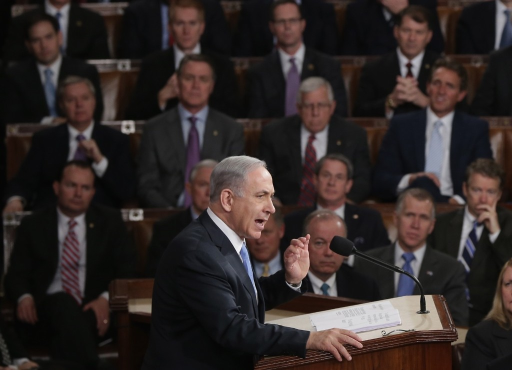 Israeli Prime Minister Benjamin Netanyahu speaks about Iran during a joint meeting of the U.S. Congress, Tuesday, in Washington. Win McNamee/Getty Images