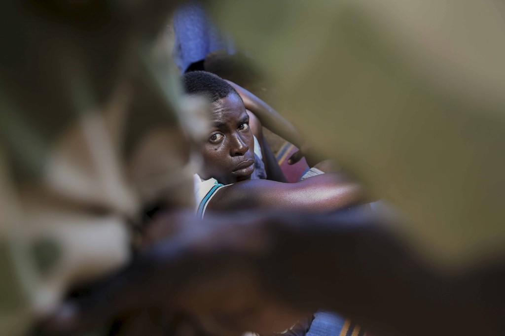 A former ex-Seleka child soldier waits to be released in Bambari, Central African Republic. REUTERS/Emmanuel Braun