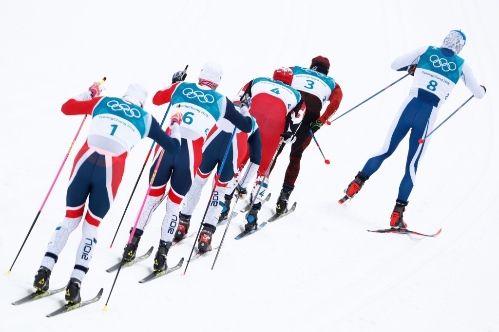 From right: Finland's Iivo Niskanen, Switzerland's Dario Cologna, Canada's Alex Harvey, Norway's Hans Christer Holund, Norway's Martin Johnsrud Sundbyand Norway's Johannes Hoesflot Klaebo during the men's 15km + 15km cross country skiathlon. ODD ANDERSEN/AFP/Getty Images
