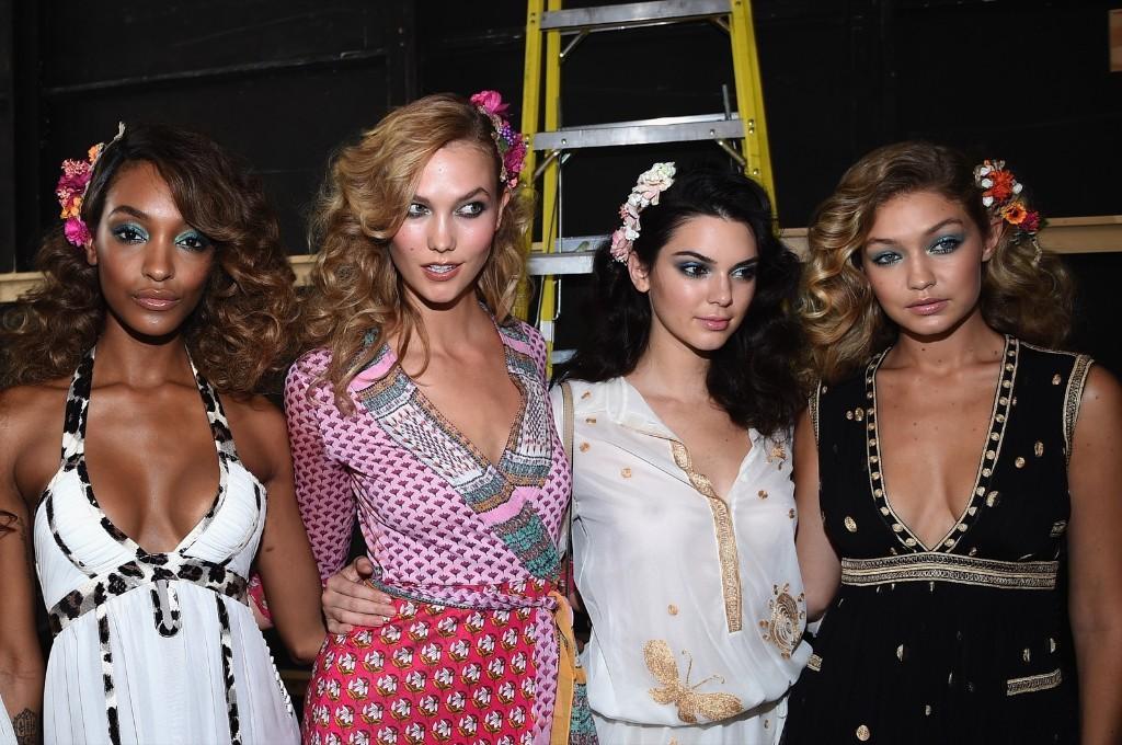 Jourdan Dunn, Karlie Kloss, Kendall Jenner and Gigi Hadid at the Diane Von Furstenberg Spring 2016 fashion show. Dimitrios Kambouris/Getty Images