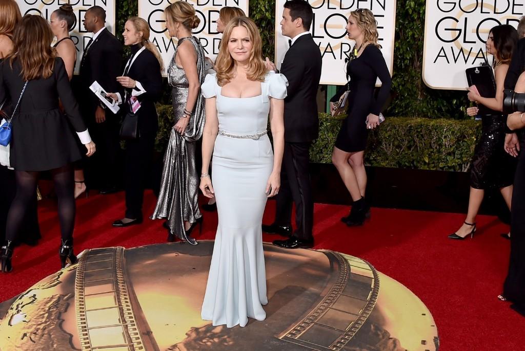 Jennifer Jason Leigh arrives. Jordan Strauss/Invision/AP