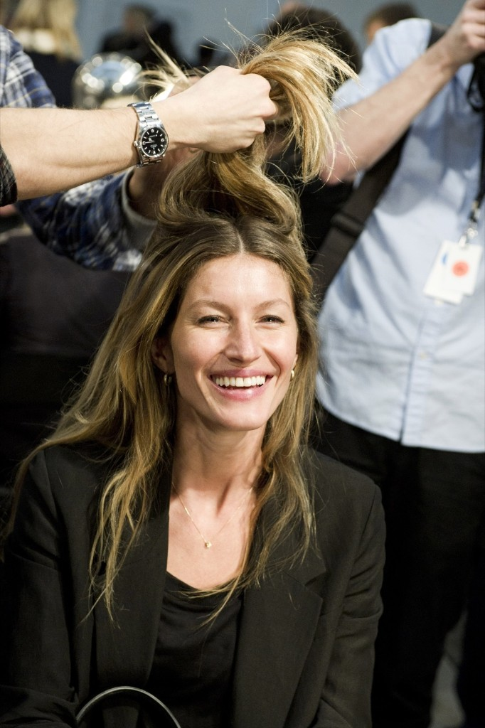 Gisele Bundchen backstage in preparation for the Alexander Wang show during Fashion Week, in New York, February 11, 2012. AP Photo/Charles Sykes