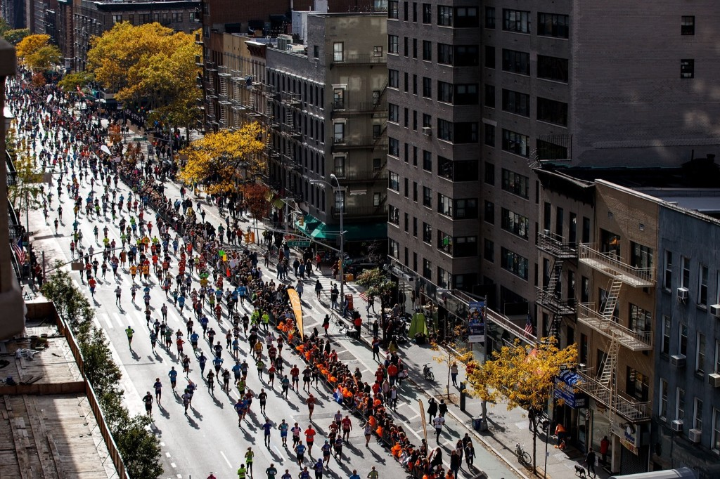 Runners make their way north on First Avenue during the New York City Marathon. Drew Angerer/Getty Images