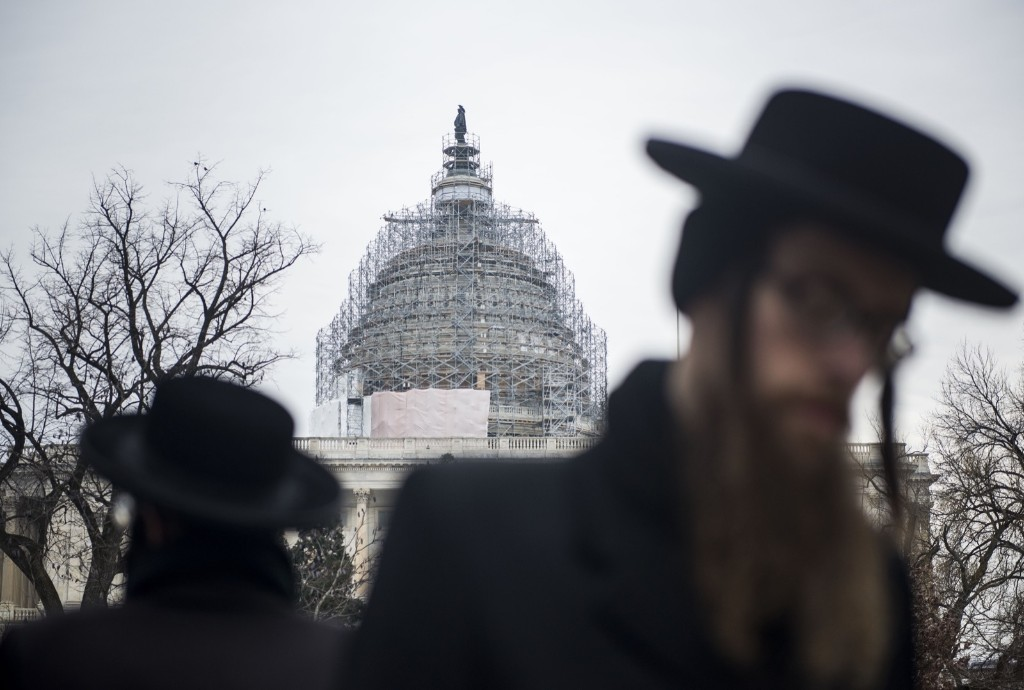 Anti-Zionist Orthodox Jews protest Israeli Prime Minister Benjamin Netanyahu's address to Congress outside the U.S. Capitol in Washington, Tuesday. Gabriella Demczuk/Getty Images