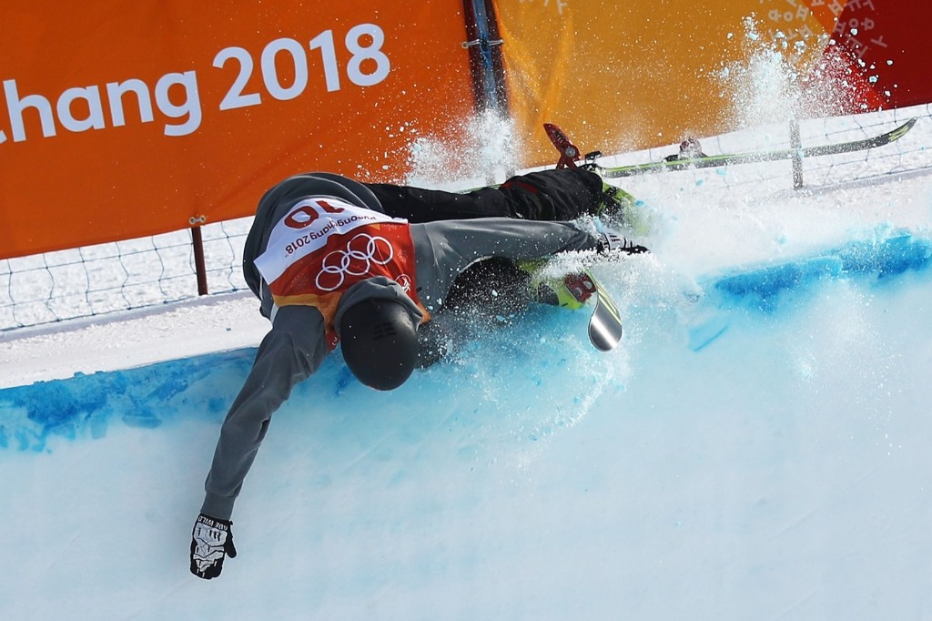 Joel Gisler of Switzerland crashes during the men's ski halfpipe qualification. Cameron Spencer/Getty Images