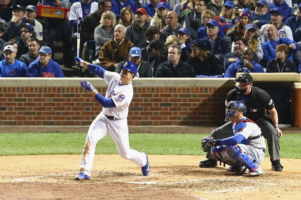Anthony Rizzo of the Cubs hits a solo home run in the fifth inning. Dylan Buell/Getty Images