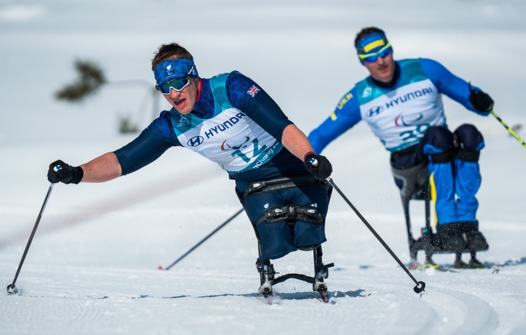 Scott Meenagh of Great Britain competes during the Cross-Country Skiing Sitting Men's 15km. Bob Martin for OIS/IOC