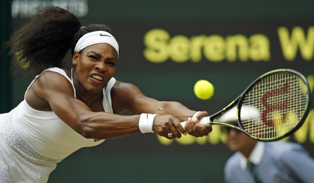 Serena Williams during victory over Venus Williams. AP Photo/Alastair Grant