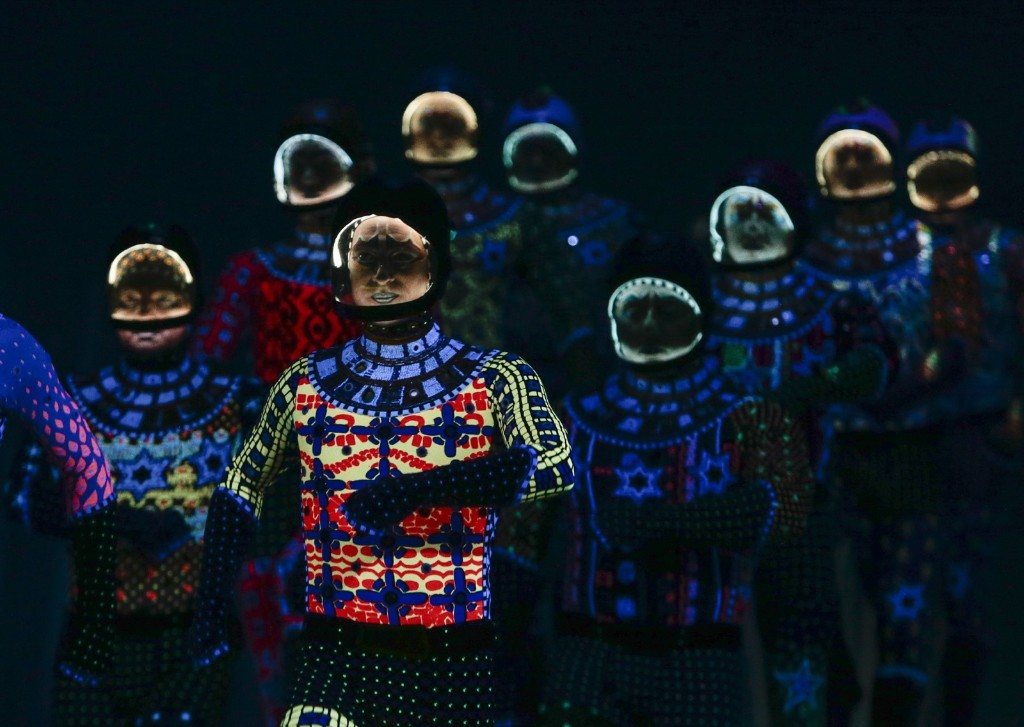 Acrobats dressed as cosmonauts from the Cirque Du Soleil perform the show 'Totem' in Singapore. EPA/WALLACE WOON