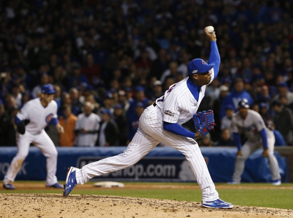 Cubs relief pitcher Aroldis Chapman shutting down the Dodgers in the eighth inning. AP Photo/Nam Y. Huh