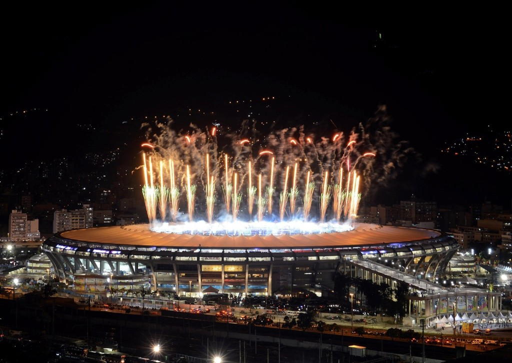 Fireworks explode over Maracana stadium during the trophy ceremony after Germany defeated Argentina. REUTERS/Lucas Landau