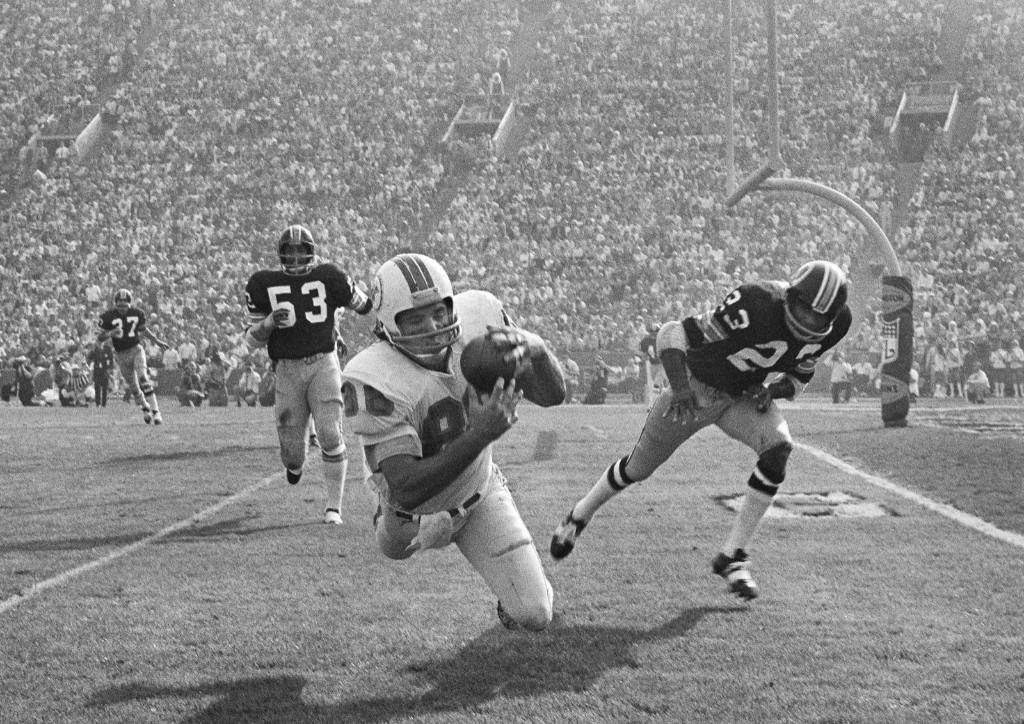 Dolphins Jim Mandich makes a diving catch of a 19-yard pass from Bob Griese during Super Bowl VII, Jan. 1973, in Los Angeles. The Dolphins 14-7 win over the Redskins capped a 17-0 season, still the NFL's only perfect, undefeated season. AP Photo