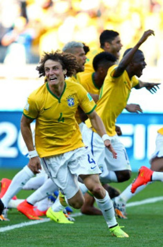 David Luiz after Brazil defeated Chile on penalty kicks in Belo Horizonte. Ryan Pierse/FIFA/Getty Images