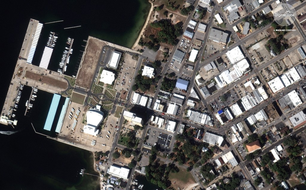 An overview of downtown Panama City, Florida is shown in this November 17, 2017 handout satellite image obtained October 13, 2018. Satellite image ©2018 DigitialGlobe, a Maxar company/Handout via REUTERS