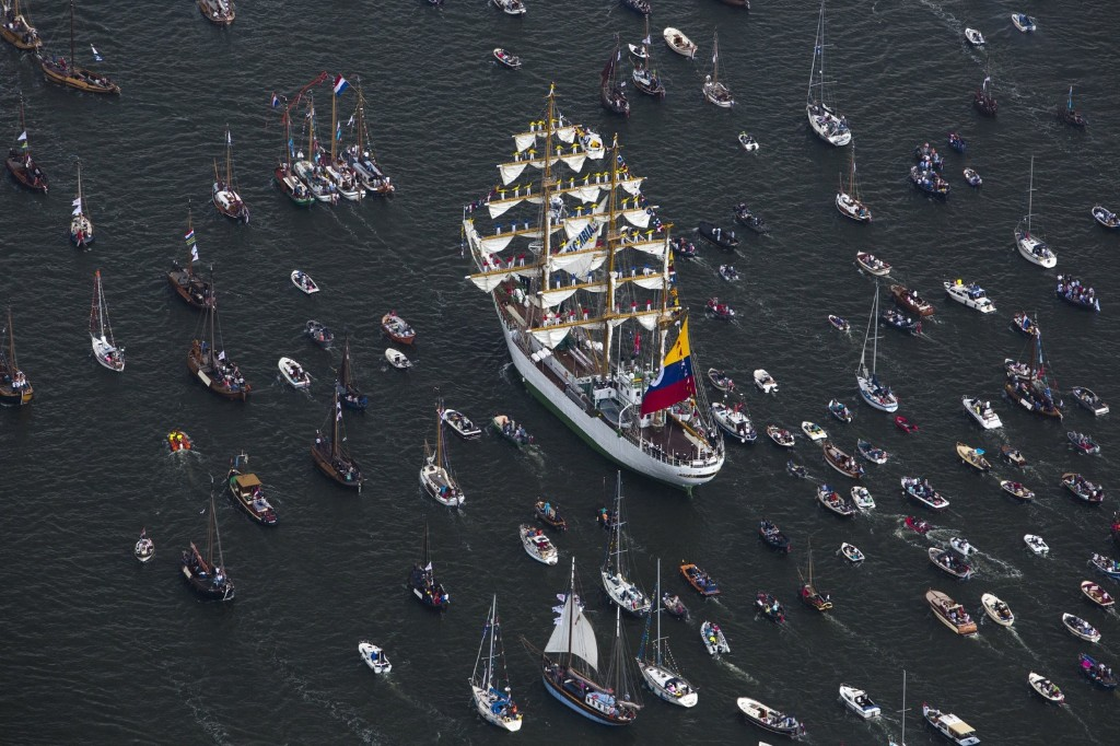 Tall ships during the beginning of the Sail Amsterdam 2015 nautical festival, held every five years, in Amsterdam. REUTERS/Cris Toala Olivares